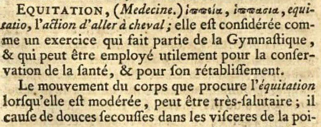 Diderot, Encyclopédie : équitation (médecine)